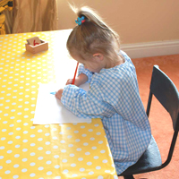 Montessori Gingham Smock Blue -